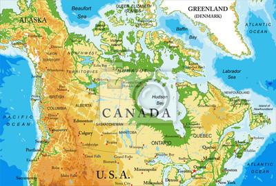 Fyzická mapa Kanady