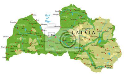 Fyzická mapa Lotyšska