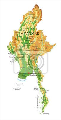 Fyzická mapa Myanmaru