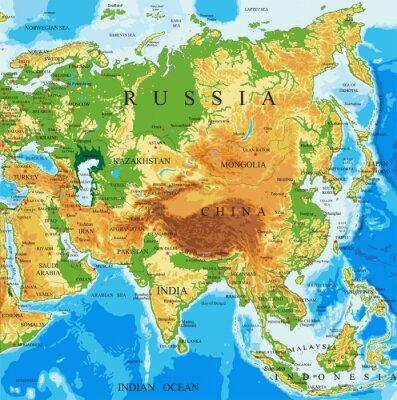 Fyzický mapa Asie
