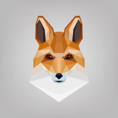 Obraz Geometrická polygonální hlava lišky. Logo design.