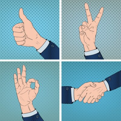 Obraz Gesta rukou Sada Comic Pop Art & Style