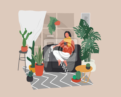 Obraz Girl sitting and resting on the couch with a cat and coffee. Daily life and everyday routine scene by young woman in scandinavian style cozy interior with homeplants. Cartoon vector