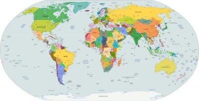 Obraz Globální politická mapa světa, vektoru