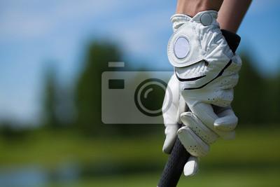 Obraz Golf hráč rukavice držte železa nebo putter
