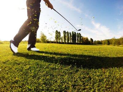 Obraz Golfista provádí golf výstřel z plavební dráhy.
