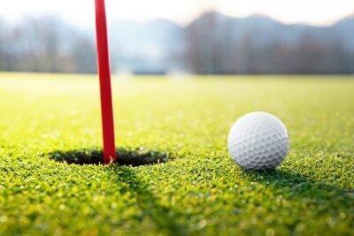 Obraz golfový míček v blízkosti otvoru
