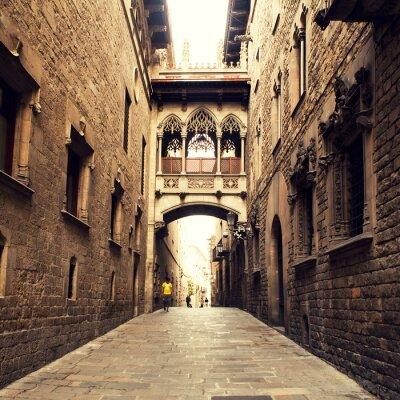 Obraz Gotická ulice s obloukem v Barceloně v blízkosti katedrály.