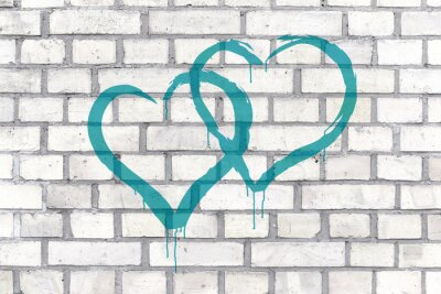 Obraz Graffiti Hearts rendered on a wall background