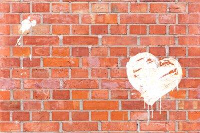 Obraz Graffiti-Herz auf Eine Mauer gerendert mit Platz für Text