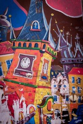 Obraz Graffiti maison aux couleurs Vives