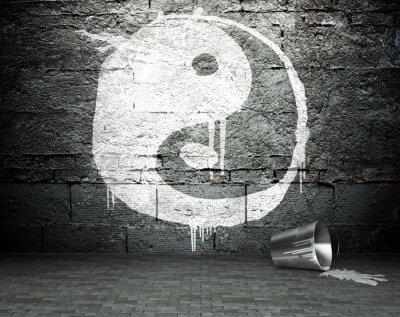 Obraz Graffiti stěna s jin jang, ulice pozadí