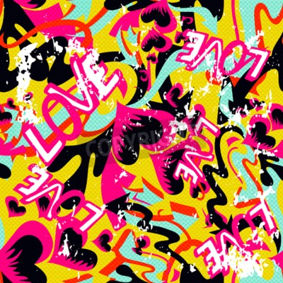Obraz graffiti Valentine Day bezešvé pozadí grunge textury