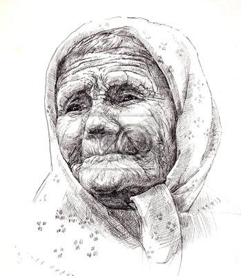 Graficky Kresleni Babicku Portret Grafika Obrazy Na Stenu Obrazy