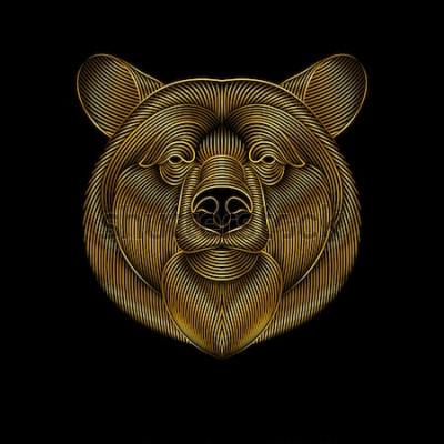 Obraz Gravírování stylizovaného zlatého medvěda na černém pozadí. Lineární kresba.
