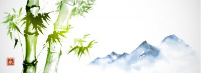 Obraz Green bamboo and far blue mountains on white background.Traditional Japanese ink wash painting sumi-e. Hieroglyph - eternity.