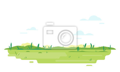 Obraz Green lawn with glass in flat style, summer day travel illustration