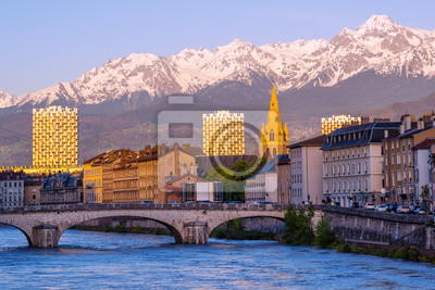 Grenoble, France, historical city center and Alps mountains