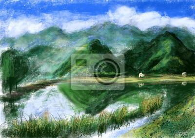 hand draw horské jezero