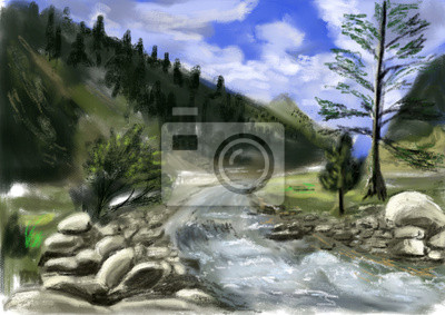 hand draw horské řeky
