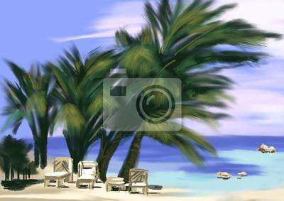hand draw kokosová palma na pláži