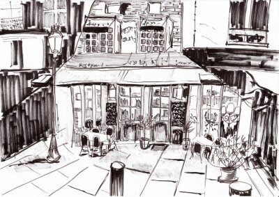hand draw paris budova