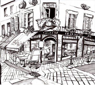 Obraz hand draw paris kavárna