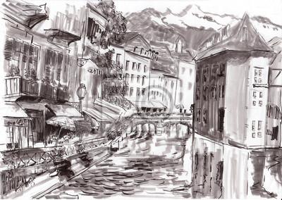 hand draw pařížské budovy