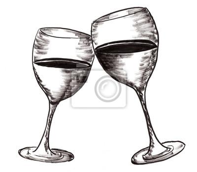 hand draw víno pohár