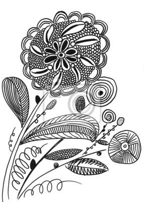 hand drawn line flower