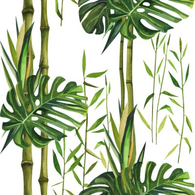 Obraz Hand drawn watercolor pattern with bamboo leaves. Seamless patterns