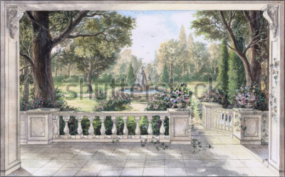 Obraz Hand drawn watercolor sketch with landscape and fountain. The view from the terrace on garden with trees, flowers and fountain. View from the balcony on the garden.