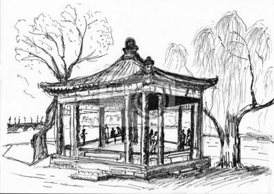 hand kreslit čínská budova