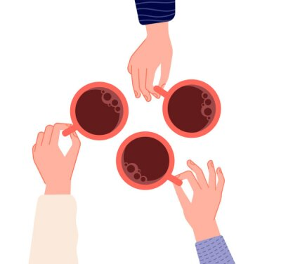 Obraz Hands holding cups. Coffee, tea in woman hand. Isolated mugs with hot drinks in cafe. Friends meeting or morning time vector illustration. Hot cup of coffee drink, hand with mug