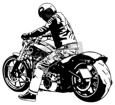 Obraz Harley Davidson a jezdec - černá a bílá ilustrace, vektor