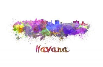 Obraz Havana Skyline v akvarel
