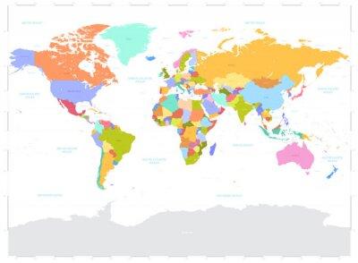Obraz Hi detailní barevné ilustrace Vector Politická mapa světa