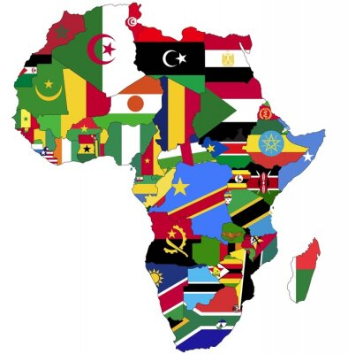 Obraz Highly Detailed Africa Map With Country Flags.