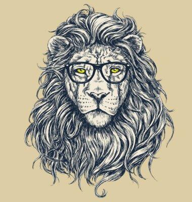 Obraz Hipster lion vector illustration. Glasses separated.