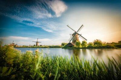 Obraz Historici holandské větrné mlýny poblíž Rotterdamu
