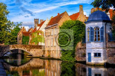 Historické cihlové domy v Bruggách středověké staré město, Belgie