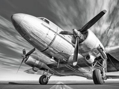 Obraz Historické letadlo na dráze