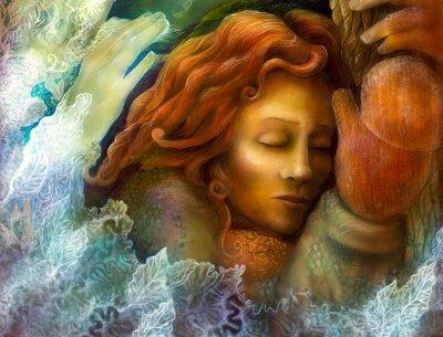Obraz Hlava sní víla žena s červenými vlasy a zimních glowes