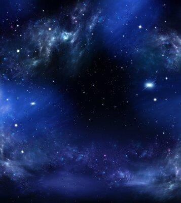 Obraz hlubokého vesmíru, abstraktní modré pozadí
