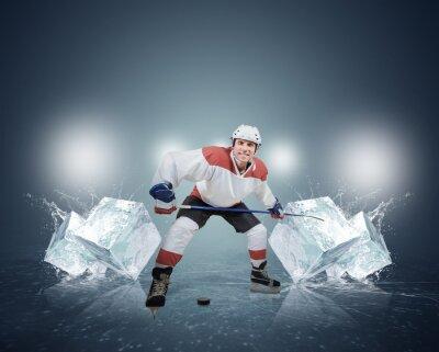 Obraz Hokejista s kostkami ledu