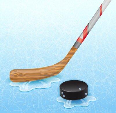 Obraz Hokejky a hokejový puk. Ilustrace 10 verze.