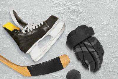 Obraz Hokejové brusle, hůl, rukavice a puk