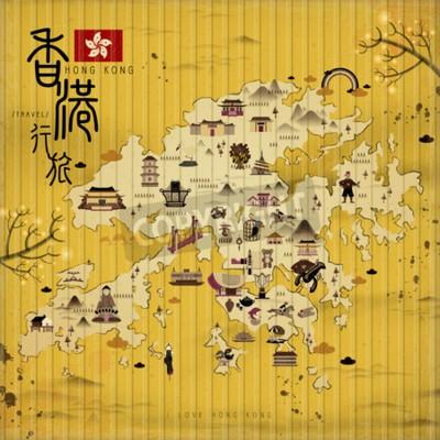 Obraz Hong Kong cestovní mapa s atrakcemi v retro stylu - horní levý titul je Hong Kong cestování v čínské slovo