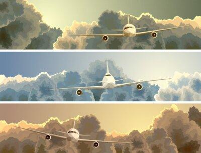 Obraz Horizontální banner letadla mezi mraky.