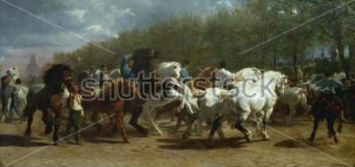 Obraz HORSE FAIR, Rosa Bonheur, 1852-55, francouzská malba, olej na plátně. Trh s koňmi v paříži na Boulevard de lx90Hopital byl vymalován po době 3 let. Při lyžování na místě pro